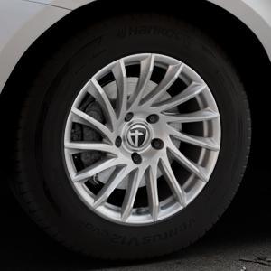 TOMASON TN16 Bright Silver Felge mit Reifen silber in 17Zoll Winterfelge Alufelge auf silbernem Volvo XC60 Typ D Facelift ⬇️ mit 15mm Tieferlegung ⬇️ Industriehalle 1 Thumbnail