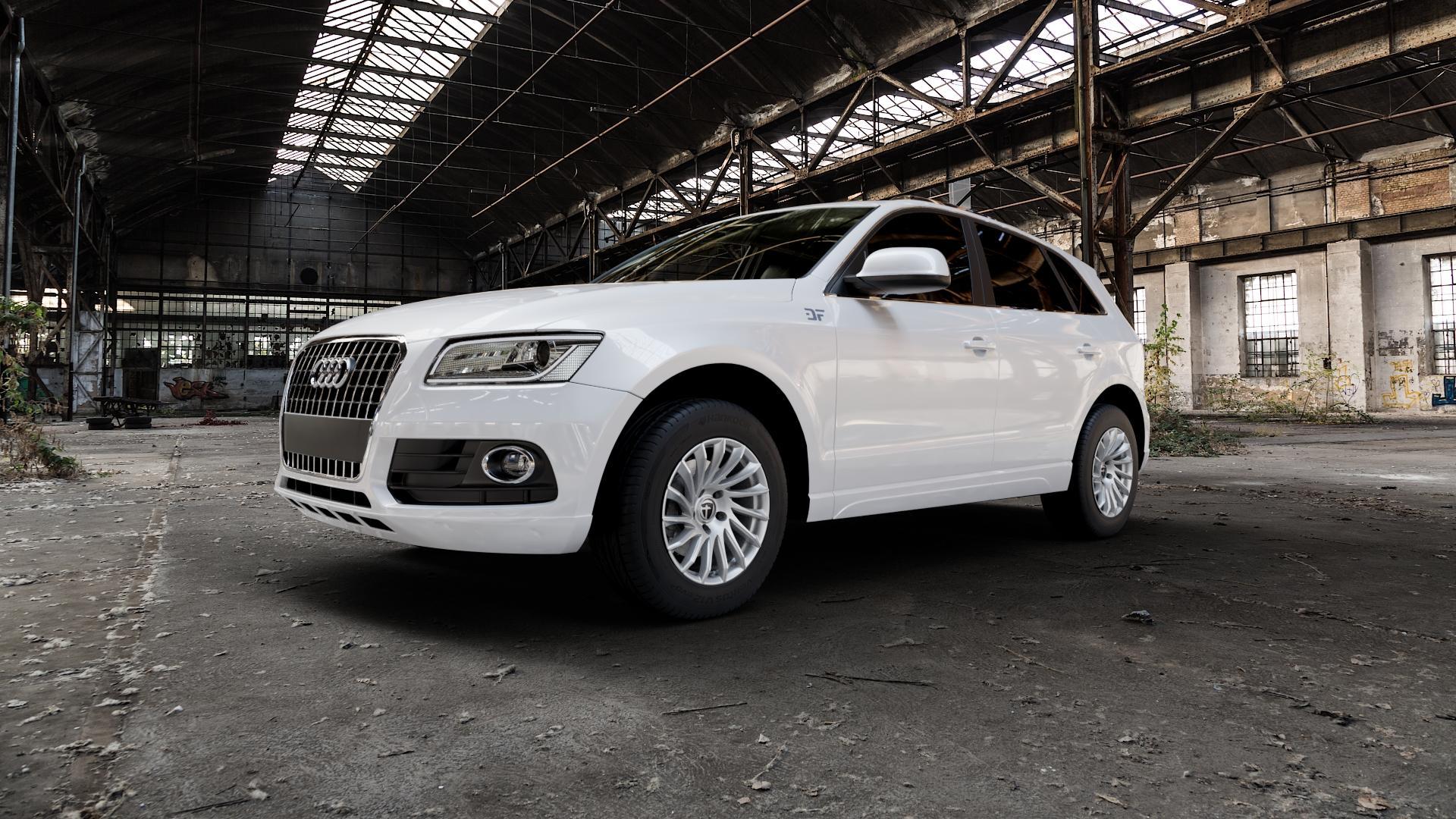 TOMASON TN16 Bright Silver Felge mit Reifen silber in 17Zoll Winterfelge Alufelge auf weissem Audi Q5 I Typ 8R ⬇️ mit 15mm Tieferlegung ⬇️ Industriehalle 1 Camera_000