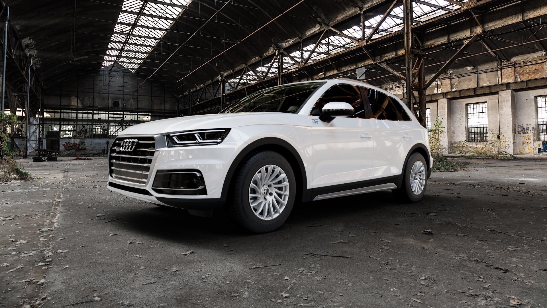 TOMASON TN16 Bright Silver Felge mit Reifen silber in 17Zoll Winterfelge Alufelge auf weissem Audi Q5 II Typ FY ⬇️ mit 15mm Tieferlegung ⬇️ Industriehalle 1 Camera_000