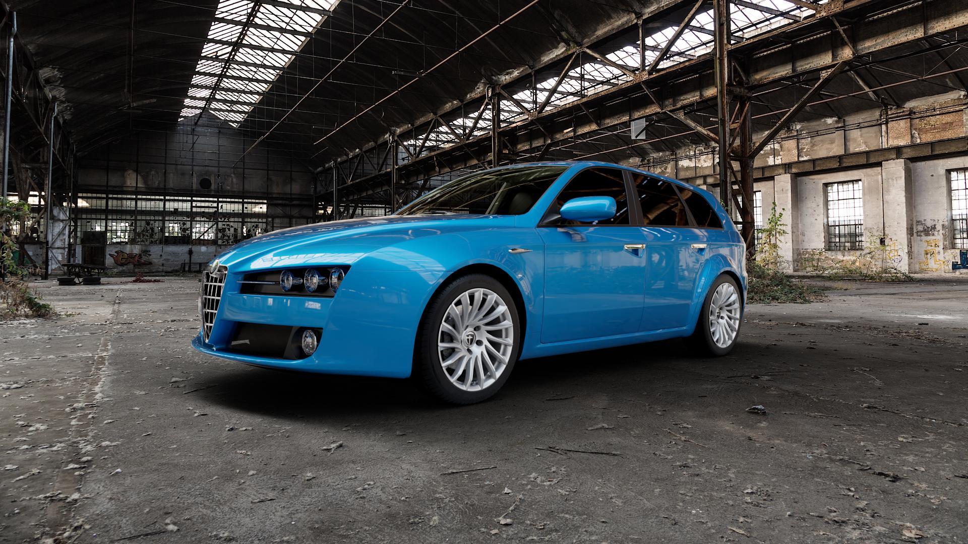 TOMASON TN16 Bright Silver Felge mit Reifen silber in 18Zoll Winterfelge Alufelge auf hellblau Alfa Romeo 159 Sportwagon ⬇️ mit 15mm Tieferlegung ⬇️ Industriehalle 1 Camera_000