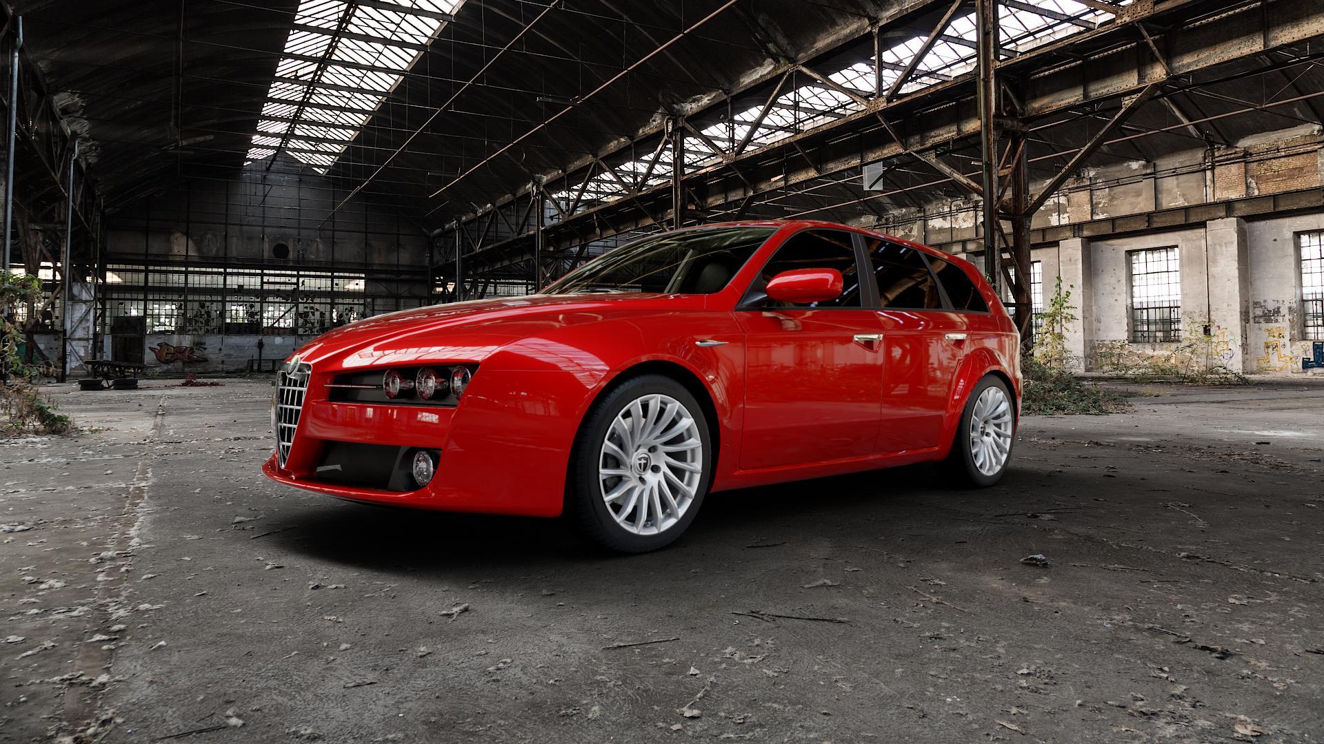 TOMASON TN16 Bright Silver Felge mit Reifen silber in 18Zoll Winterfelge Alufelge auf rotem Alfa Romeo 159 Sportwagon ⬇️ mit 15mm Tieferlegung ⬇️ Industriehalle 1 Camera_000