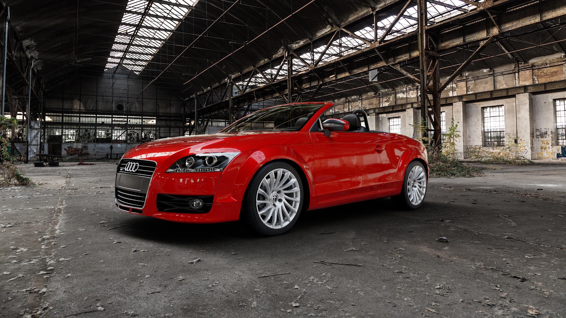 TOMASON TN16 Bright Silver Felge mit Reifen silber in 18Zoll Winterfelge Alufelge auf rotem Audi TT II Typ 8J (Roadster) ⬇️ mit 15mm Tieferlegung ⬇️ Industriehalle 1 Camera_000