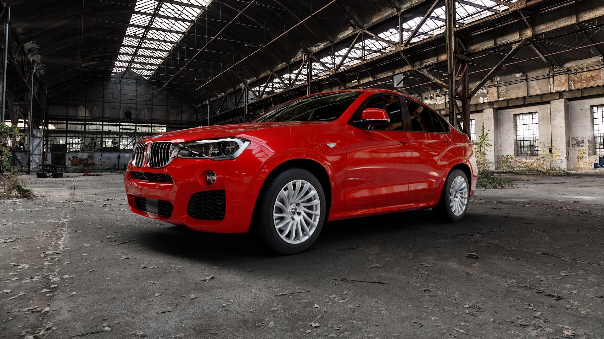 TOMASON TN16 Bright Silver Felge mit Reifen silber in 18Zoll Winterfelge Alufelge auf rotem BMW X4 Typ F26 (X3, X-N1) ⬇️ mit 15mm Tieferlegung ⬇️ Industriehalle 1 Camera_000