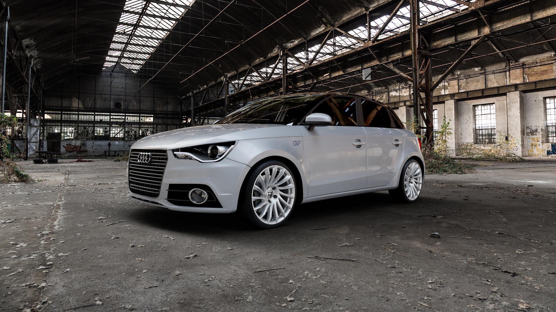 TOMASON TN16 Bright Silver Felge mit Reifen silber in 18Zoll Winterfelge Alufelge auf silbernem Audi A1 Typ 8X (Sportback) ⬇️ mit 15mm Tieferlegung ⬇️ Industriehalle 1 Camera_000