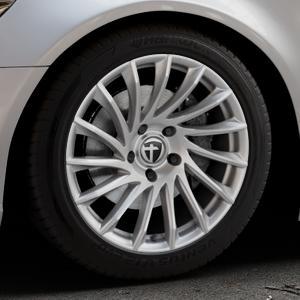 TOMASON TN16 Bright Silver Felge mit Reifen silber in 18Zoll Winterfelge Alufelge auf silbernem Audi A6 Typ 4G/C7 (Limousine) ⬇️ mit 15mm Tieferlegung ⬇️ Industriehalle 1 Thumbnail