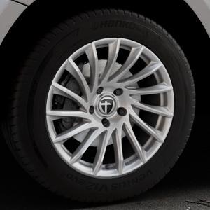TOMASON TN16 Bright Silver Felge mit Reifen silber in 18Zoll Winterfelge Alufelge auf silbernem Audi Q5 I Typ 8R ⬇️ mit 15mm Tieferlegung ⬇️ Industriehalle 1 Thumbnail