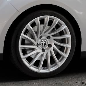 TOMASON TN16 Bright Silver Felge mit Reifen silber in 18Zoll Winterfelge Alufelge auf silbernem Ford C-Max II Typ DXA (10->) ⬇️ mit 15mm Tieferlegung ⬇️ Industriehalle 1 Thumbnail