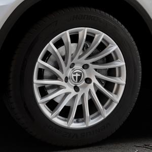 TOMASON TN16 Bright Silver Felge mit Reifen silber in 18Zoll Winterfelge Alufelge auf silbernem Mercedes GLC-Klasse Typ X253 ⬇️ mit 15mm Tieferlegung ⬇️ Industriehalle 1 Thumbnail