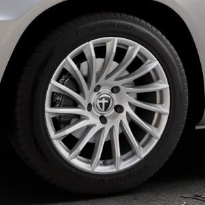 TOMASON TN16 Bright Silver Felge mit Reifen silber in 18Zoll Winterfelge Alufelge auf silbernem Mercedes GLK-Klasse Typ X204 Facelift ⬇️ mit 15mm Tieferlegung ⬇️ Industriehalle 1 Thumbnail