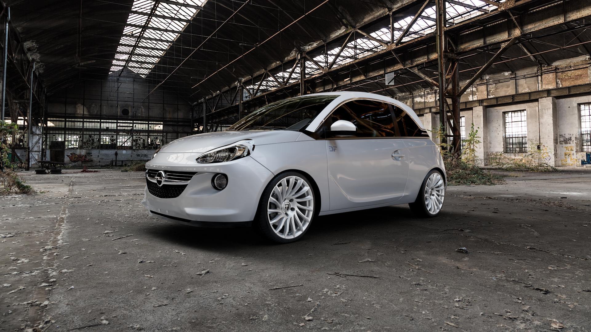 TOMASON TN16 Bright Silver Felge mit Reifen silber in 18Zoll Winterfelge Alufelge auf silbernem Opel Adam ⬇️ mit 15mm Tieferlegung ⬇️ Industriehalle 1 Camera_000