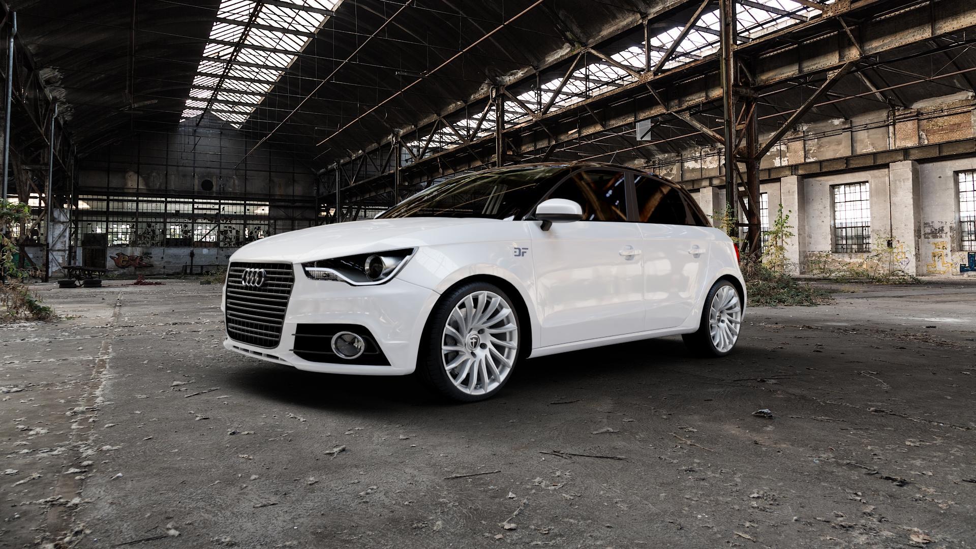 TOMASON TN16 Bright Silver Felge mit Reifen silber in 18Zoll Winterfelge Alufelge auf weissem Audi A1 Typ 8X (Sportback) ⬇️ mit 15mm Tieferlegung ⬇️ Industriehalle 1 Camera_000