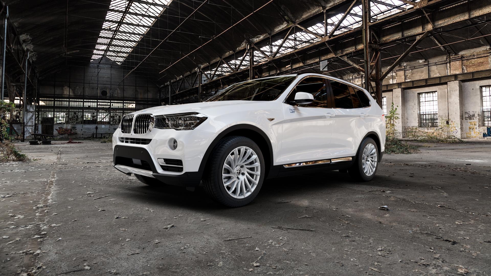 TOMASON TN16 Bright Silver Felge mit Reifen silber in 18Zoll Winterfelge Alufelge auf weissem BMW X3 Typ F25 (X3, X-N1) ⬇️ mit 15mm Tieferlegung ⬇️ Industriehalle 1 Camera_000