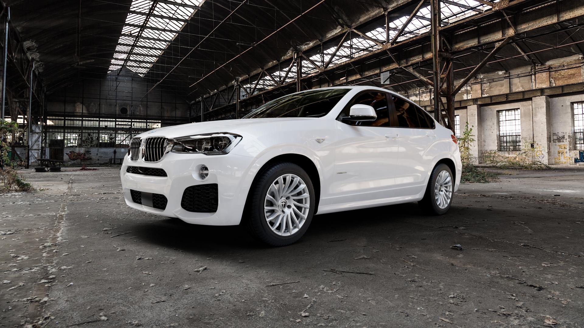 TOMASON TN16 Bright Silver Felge mit Reifen silber in 18Zoll Winterfelge Alufelge auf weissem BMW X4 Typ F26 (X3, X-N1) ⬇️ mit 15mm Tieferlegung ⬇️ Industriehalle 1 Camera_000