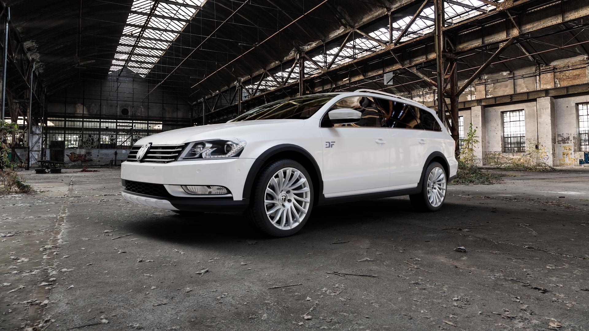 TOMASON TN16 bright silver Felge mit Reifen silber in 18Zoll Winterfelge Alufelge auf weissem Volkswagen (VW) Passat 3C/B7 Alltrack ⬇️ mit 15mm Tieferlegung ⬇️ Industriehalle 1 Camera_000