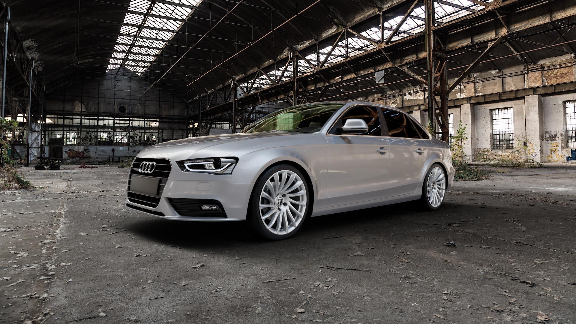 TOMASON TN16 Bright Silver Felge mit Reifen silber in 19Zoll Winterfelge Alufelge auf silbernem Audi A4 Typ 8K2/B8 (Limousine) Facelift ⬇️ mit 15mm Tieferlegung ⬇️ Industriehalle 1 Camera_000