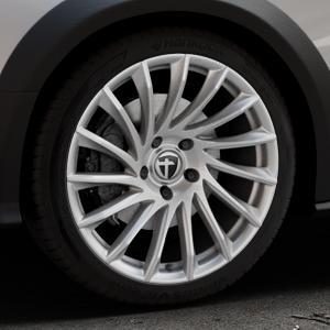 TOMASON TN16 Bright Silver Felge mit Reifen silber in 19Zoll Winterfelge Alufelge auf silbernem Audi A4 Typ 8KH/B8 Allroad ⬇️ mit 15mm Tieferlegung ⬇️ Industriehalle 1 Thumbnail