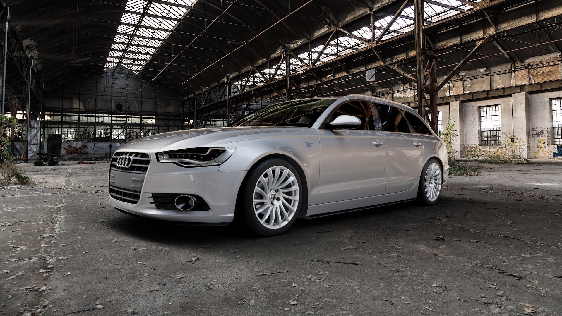 TOMASON TN16 Bright Silver Felge mit Reifen silber in 19Zoll Winterfelge Alufelge auf silbernem Audi A6 Typ 4G/C7 (Avant) ⬇️ mit 15mm Tieferlegung ⬇️ Industriehalle 1 Camera_000