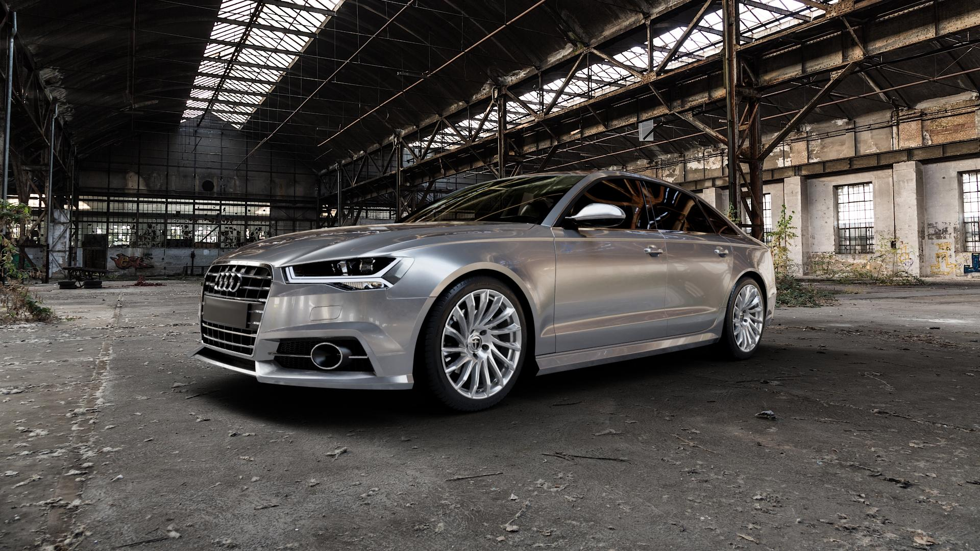 TOMASON TN16 Bright Silver Felge mit Reifen silber in 19Zoll Winterfelge Alufelge auf silbernem Audi A6 Typ 4G/C7 (Limousine) Facelift ⬇️ mit 15mm Tieferlegung ⬇️ Industriehalle 1 Camera_000