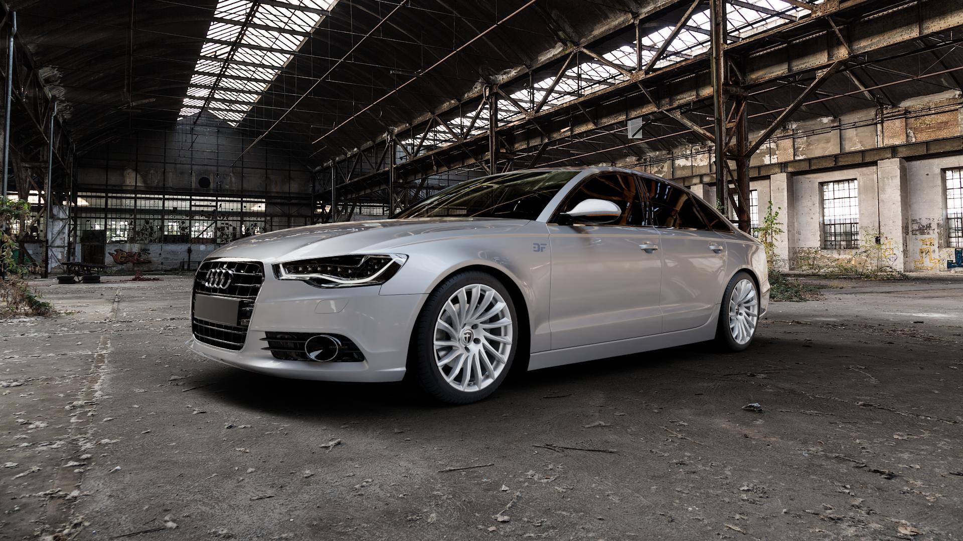 TOMASON TN16 Bright Silver Felge mit Reifen silber in 19Zoll Winterfelge Alufelge auf silbernem Audi A6 Typ 4G/C7 (Limousine) ⬇️ mit 15mm Tieferlegung ⬇️ Industriehalle 1 Camera_000