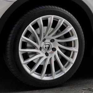 TOMASON TN16 Bright Silver Felge mit Reifen silber in 19Zoll Winterfelge Alufelge auf silbernem BMW X3 Typ F25 (X3, X-N1) ⬇️ mit 15mm Tieferlegung ⬇️ Industriehalle 1 Thumbnail