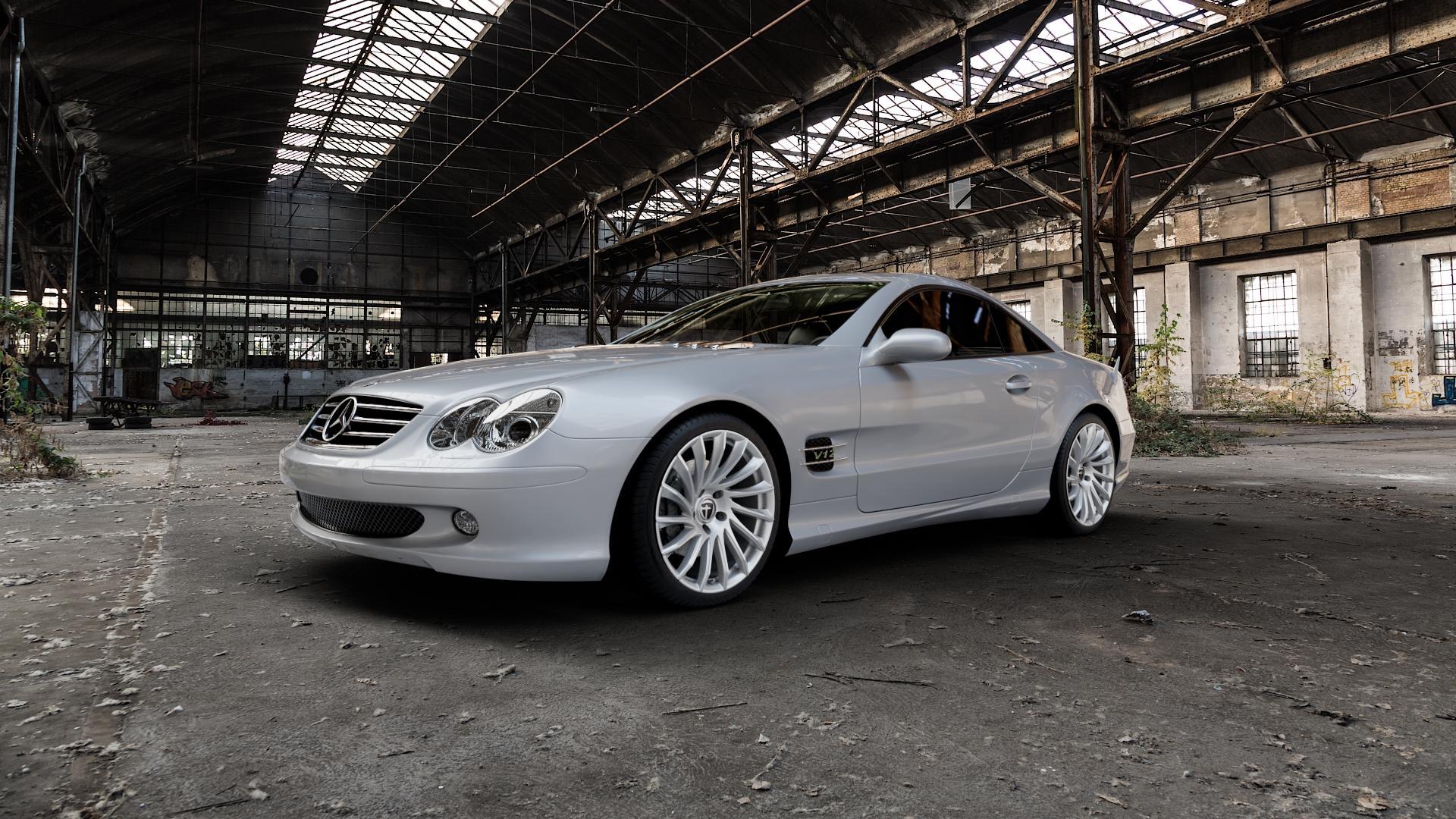 TOMASON TN16 Bright Silver Felge mit Reifen silber in 19Zoll Winterfelge Alufelge auf silbernem Mercedes SL Typ R230 ⬇️ mit 15mm Tieferlegung ⬇️ Industriehalle 1 Camera_000