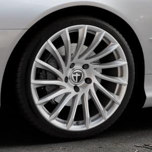 TOMASON TN16 Bright Silver Felge mit Reifen silber in 19Zoll Winterfelge Alufelge auf silbernem Mercedes SL Typ R230 ⬇️ mit 15mm Tieferlegung ⬇️ Industriehalle 1 Thumbnail