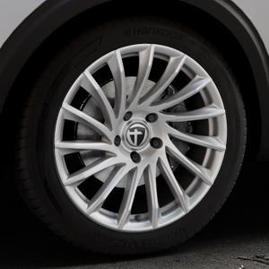 TOMASON TN16 Bright Silver Felge mit Reifen silber in 19Zoll Winterfelge Alufelge auf silbernem Peugeot 5008 Typ M ⬇️ mit 15mm Tieferlegung ⬇️ Industriehalle 1 Thumbnail