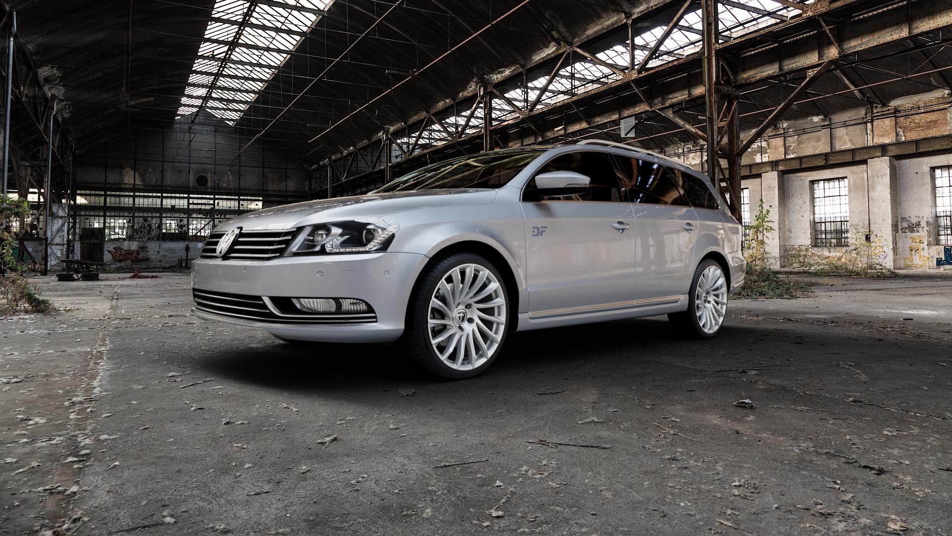 TOMASON TN16 Bright Silver Felge mit Reifen silber in 19Zoll Winterfelge Alufelge auf silbernem Volkswagen (VW) Passat 3C/B7 Variant ⬇️ mit 15mm Tieferlegung ⬇️ Industriehalle 1 Camera_000