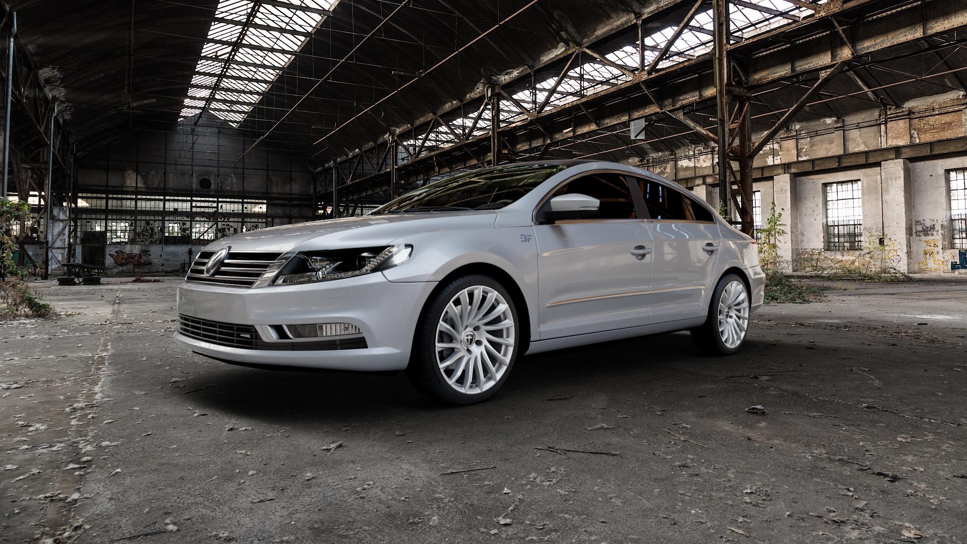 TOMASON TN16 Bright Silver Felge mit Reifen silber in 19Zoll Winterfelge Alufelge auf silbernem Volkswagen (VW) Passat CC II (15->) ⬇️ mit 15mm Tieferlegung ⬇️ Industriehalle 1 Camera_000