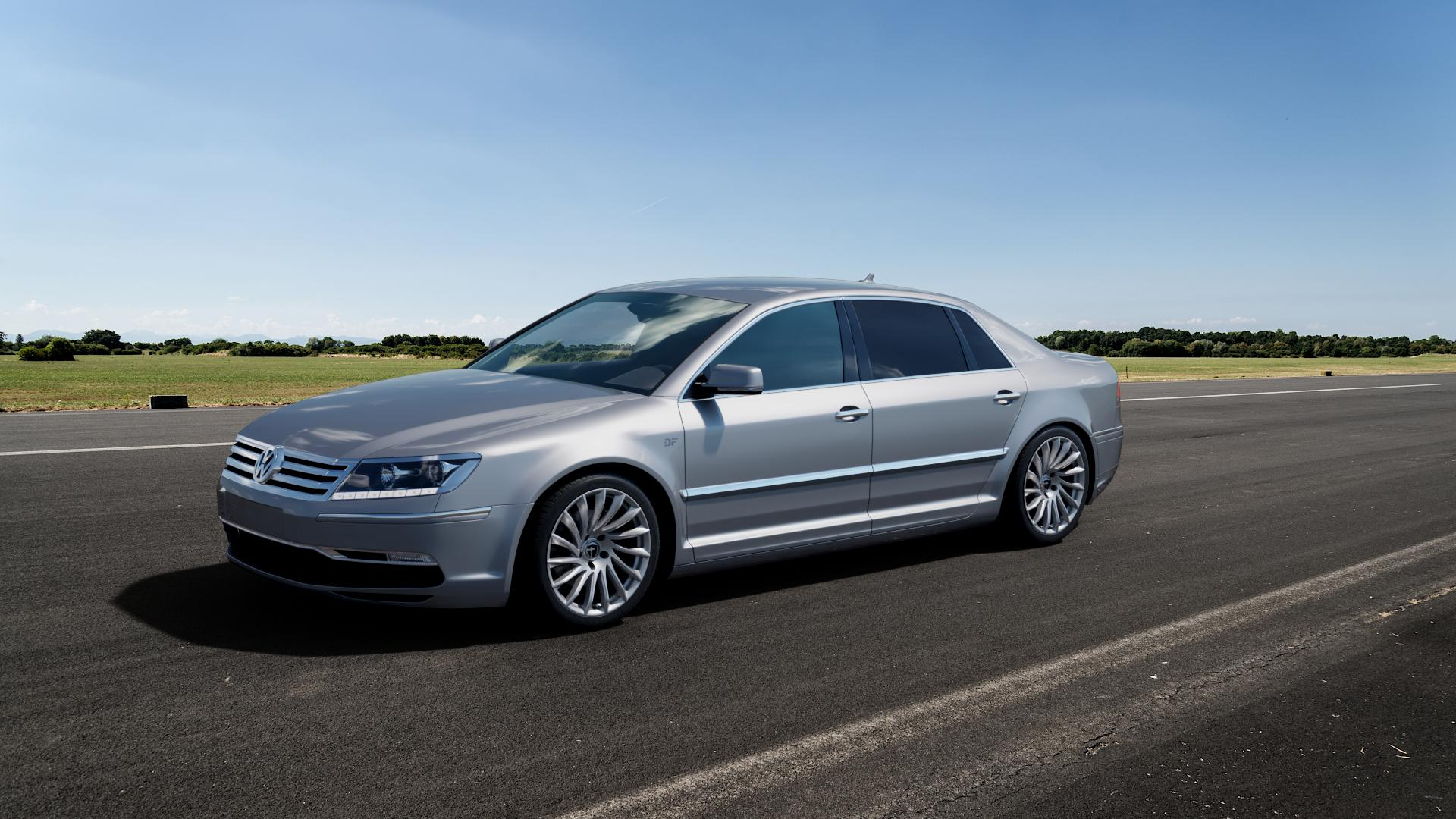 TOMASON TN16 Bright Silver Felge mit Reifen silber in 19Zoll Winterfelge Alufelge auf silbernem Volkswagen (VW) Phaeton Typ 3D (Facelift 10->) ⬇️ mit 15mm Tieferlegung ⬇️ Big_Vehicle_Airstrip_1 Frontansicht_1