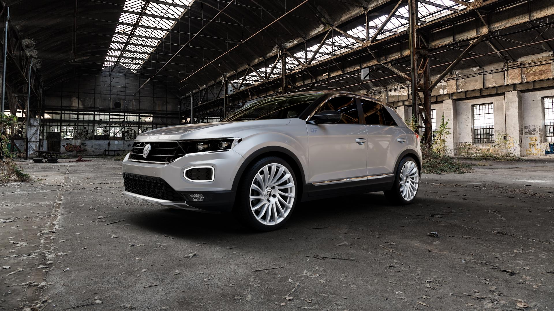 TOMASON TN16 Bright Silver Felge mit Reifen silber in 19Zoll Winterfelge Alufelge auf silbernem Volkswagen (VW) T-Roc ⬇️ mit 15mm Tieferlegung ⬇️ Industriehalle 1 Camera_000