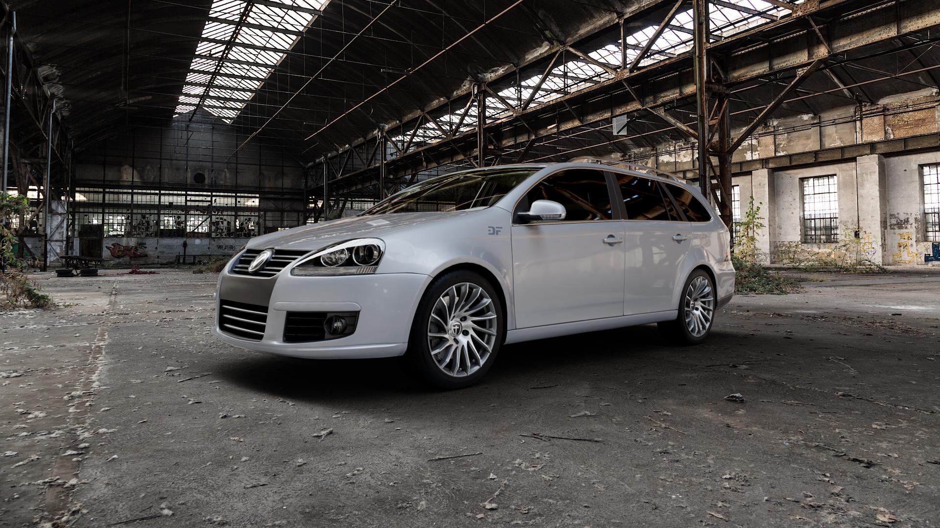 TOMASON TN16 Dark Hyperblack polished Felge mit Reifen silber mehrfarbig in 17Zoll Alufelge auf silbernem Volkswagen (VW) Golf 5 Variant ⬇️ mit 15mm Tieferlegung ⬇️ Industriehalle 1 Camera_000