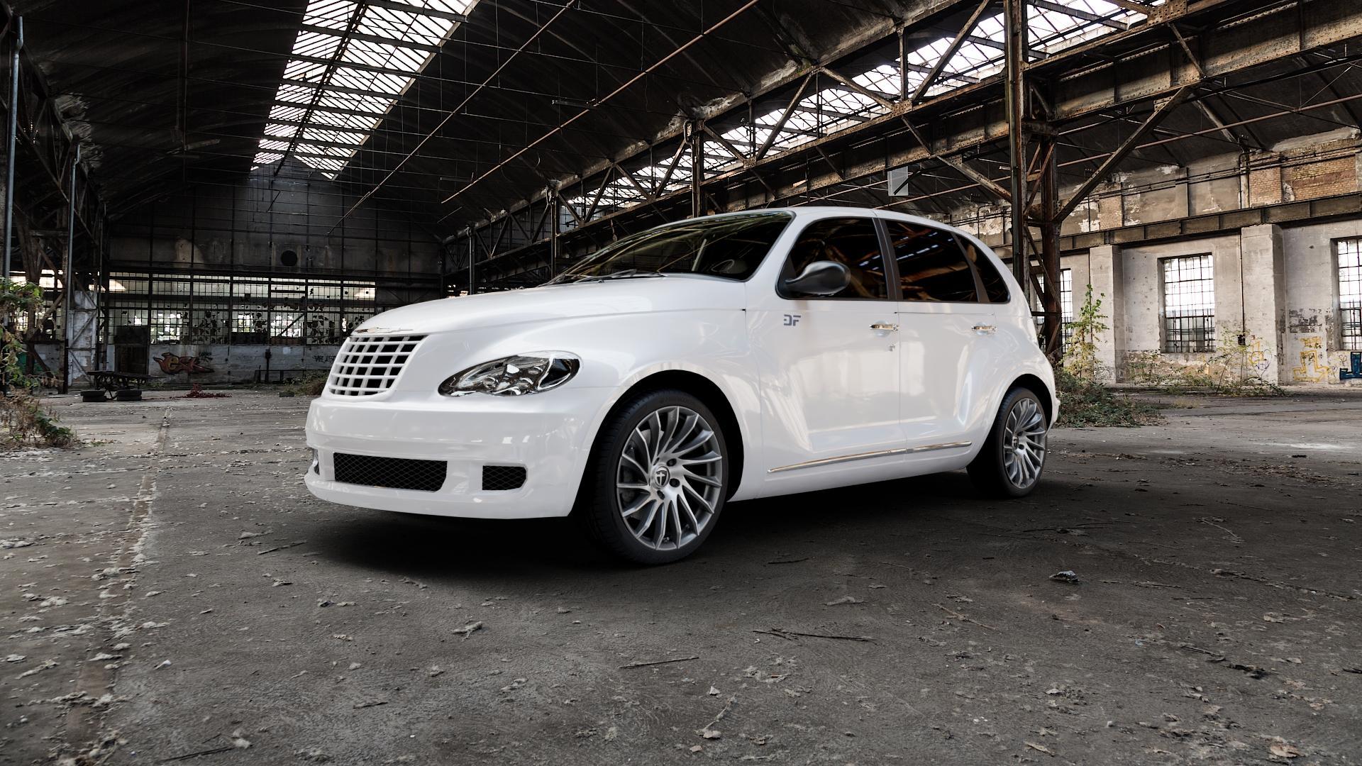 TOMASON TN16 Dark Hyperblack polished Felge mit Reifen silber mehrfarbig in 18Zoll Alufelge auf weissem Chrysler PT Cruiser Cabriolet ⬇️ mit 15mm Tieferlegung ⬇️ Industriehalle 1 Camera_000