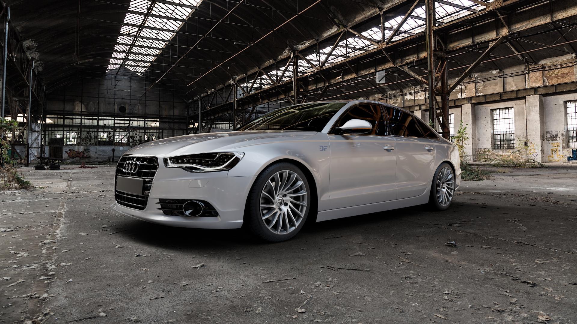 TOMASON TN16 Dark Hyperblack polished Felge mit Reifen silber mehrfarbig in 19Zoll Alufelge auf silbernem Audi A6 Typ 4G/C7 (Limousine) ⬇️ mit 15mm Tieferlegung ⬇️ Industriehalle 1 Camera_000