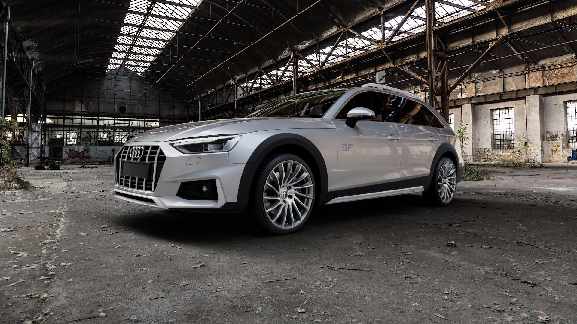 TOMASON TN16 Dark Hyperblack polished Felge mit Reifen silber mehrfarbig in 20Zoll Alufelge auf silbernem Audi A4 Typ B9 Allroad Facelift ⬇️ mit 15mm Tieferlegung ⬇️ Industriehalle 1 Camera_000