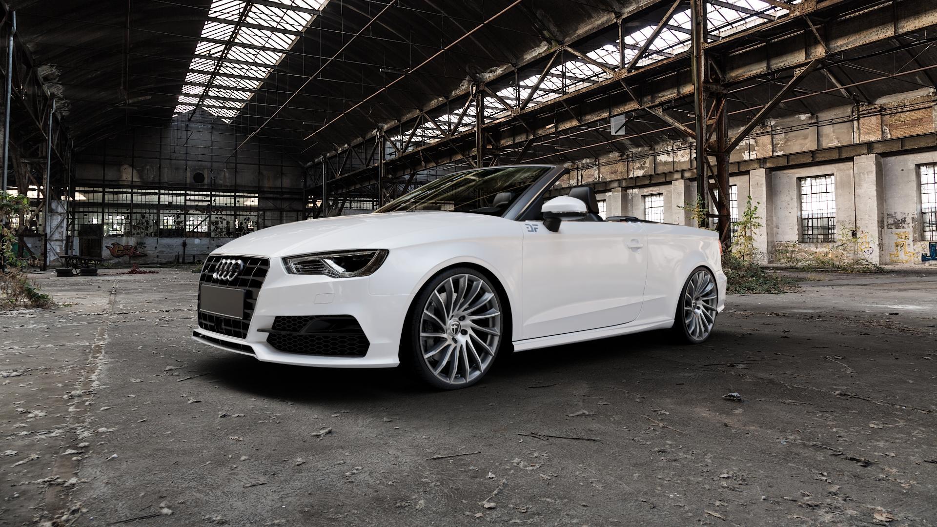 TOMASON TN16 Dark Hyperblack polished Felge mit Reifen silber mehrfarbig in 20Zoll Alufelge auf weissem Audi A3 Typ 8V (Cabriolet) ⬇️ mit 15mm Tieferlegung ⬇️ Industriehalle 1 Camera_000