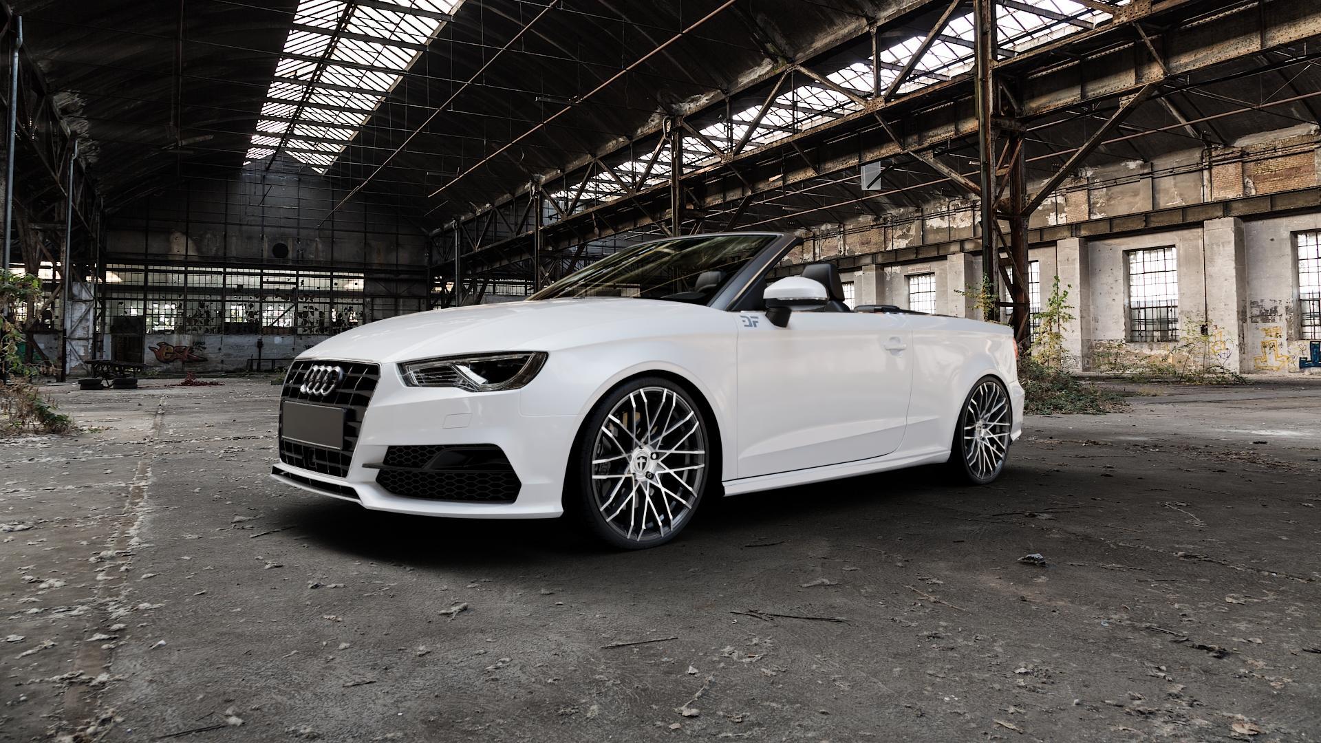 TOMASON TN19 dark hyperblack polished Felge mit Reifen silber schwarz mehrfarbig in 20Zoll Alufelge auf weissem Audi A3 Typ 8V (Cabriolet) ⬇️ mit 15mm Tieferlegung ⬇️ Industriehalle 1 Camera_000