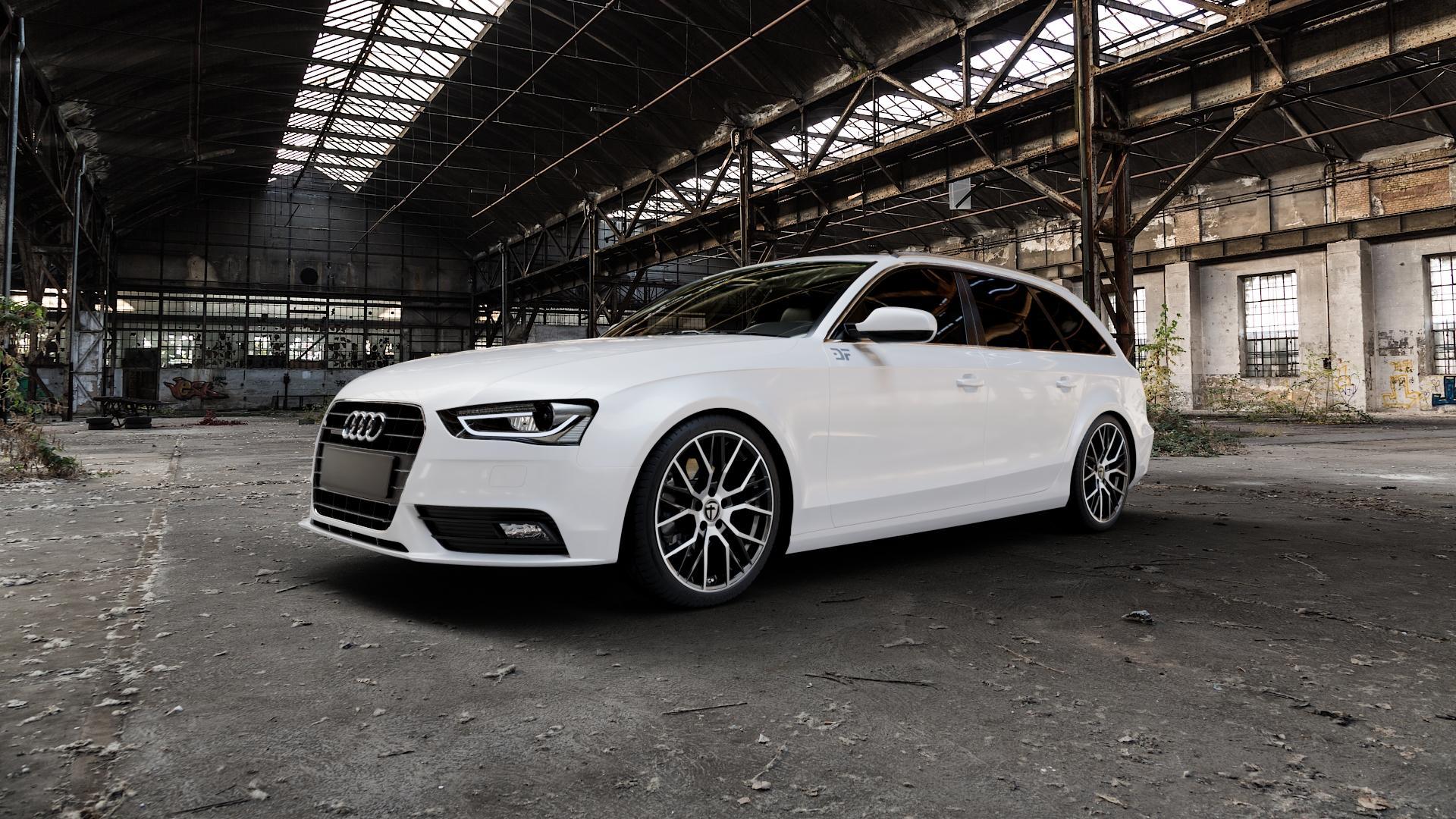 TOMASON TN23 Black Diamond polished Felge mit Reifen schwarz mehrfarbig in 19Zoll Alufelge auf weissem Audi A4 Typ 8K5/B8 (Avant) Facelift ⬇️ mit 15mm Tieferlegung ⬇️ Industriehalle 1 Camera_000
