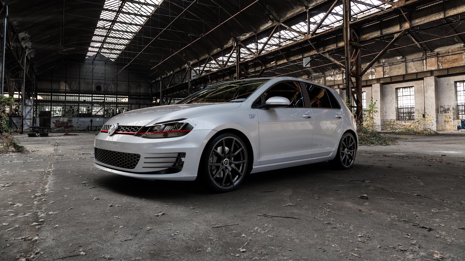 V1 Wheels V1 Schwarz glänzend lackiert Felge mit Reifen in 19Zoll Winterfelge Alufelge auf silbernem Volkswagen (VW) Golf 7 2,0l GTI 162kW (220 PS) Performance 169kW (230 ⬇️ mit 15mm Tieferlegung ⬇️ Industriehalle 1 Camera_000
