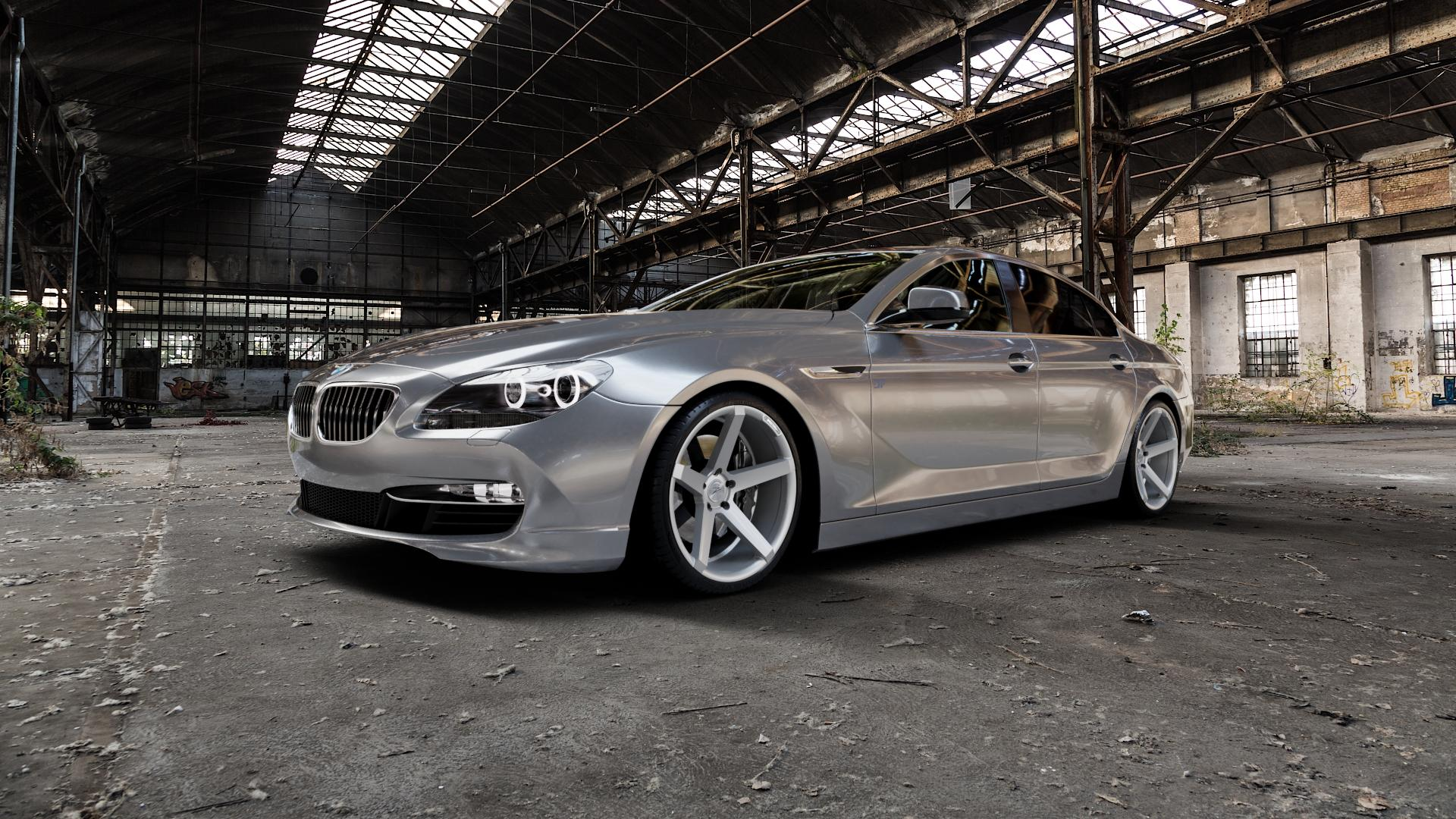 Z-Performance ZP6.1 Deep Concave Sparkling Silver Felge mit Reifen silber in 20Zoll Winterfelge Alufelge auf silbernem BMW 6er F06 Gran Coupe (6C) ⬇️ mit 15mm Tieferlegung ⬇️ Industriehalle 1 Camera_000